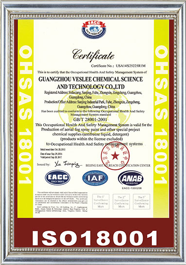 ISO certificate for car care and spray paint manufacturer Veslee